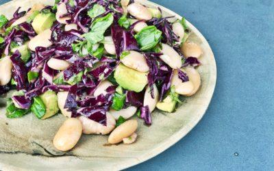 Rødkålssalat med avocado, butterbeans og basilikum